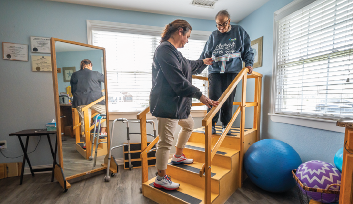 Otterbein Perrysburg Small House resident doing in-house physical therapy