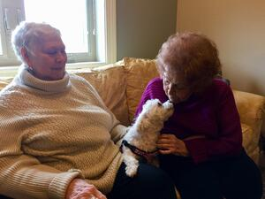 Otterbein Cridersville residents Annie and Ann C. pose with the dog, Lottie.