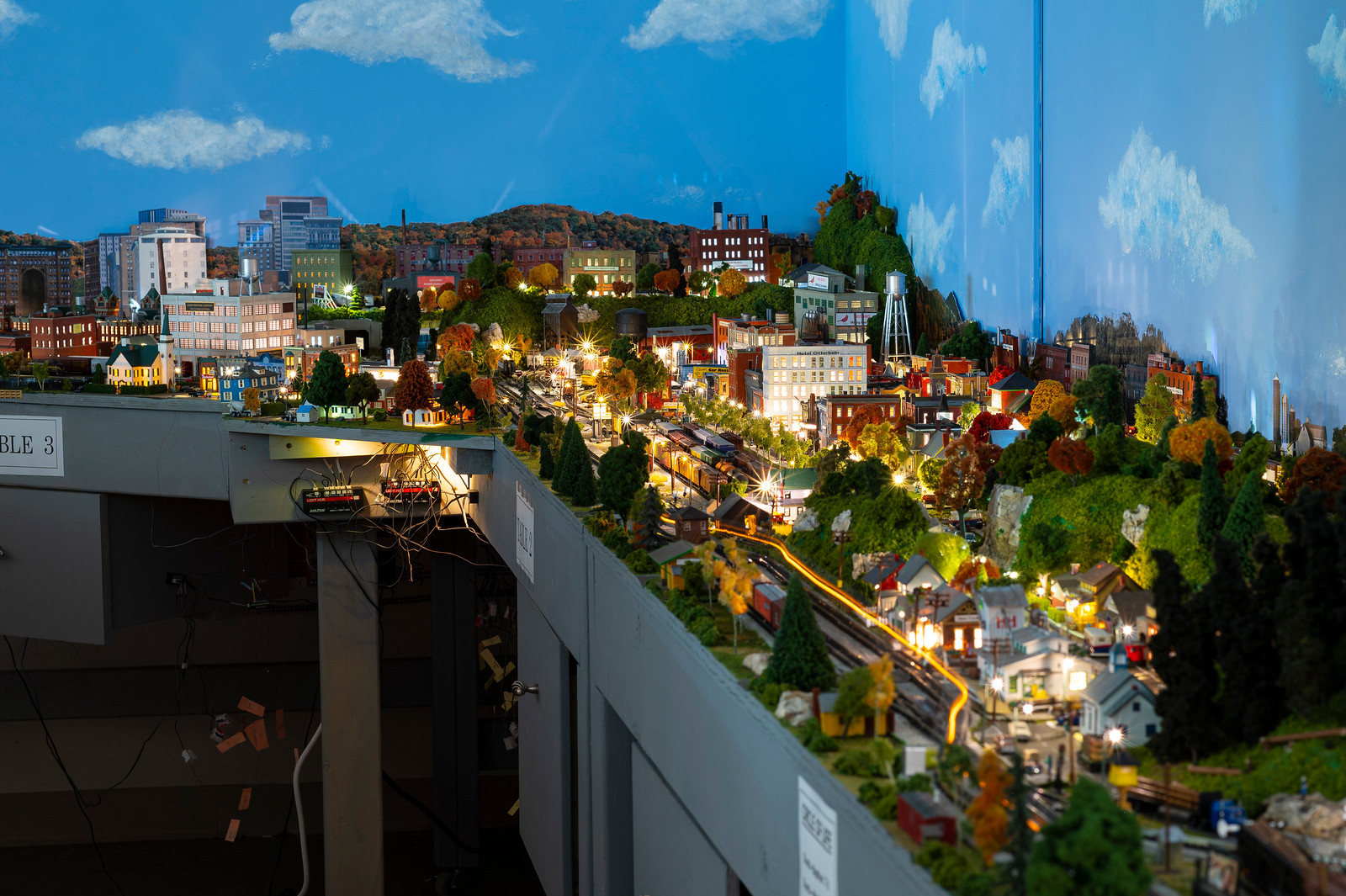 Otterbein Lebanon model trains lit up at night