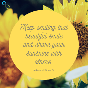 Beautiful smile with sunflowers quote image