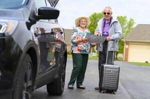 Retired couple planning vacation