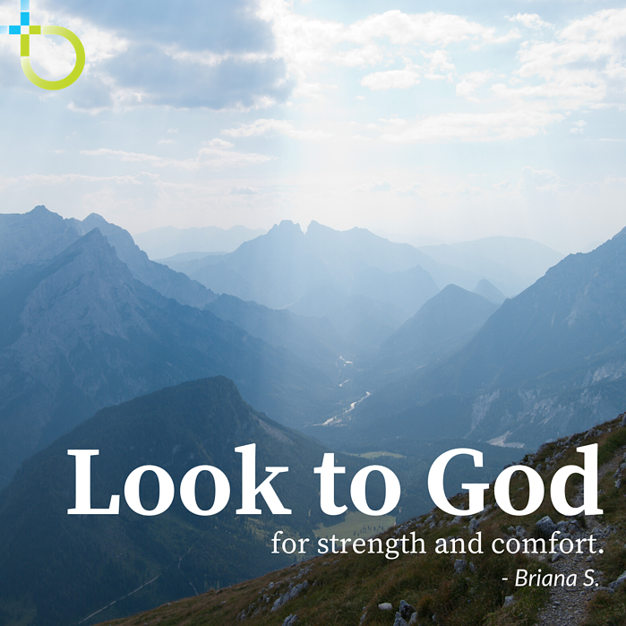 Look to God quote image with mountain