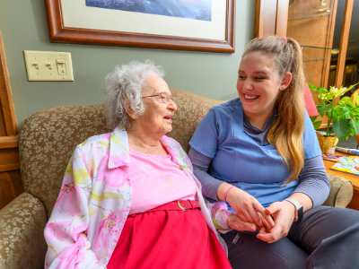 Senior and granddaughter use respite care services at otterbein