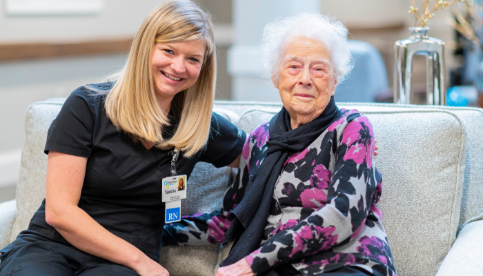 Otterbein adult day services care provider assists caregiver in taking care of her elderly mother