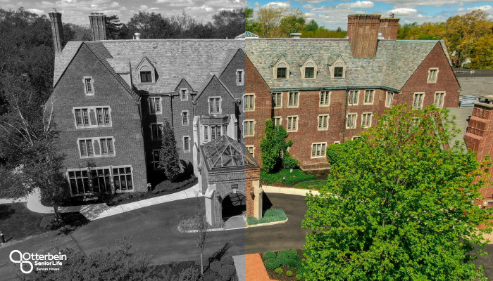 Otterbein Sunset House Building in Black and White and in Color.