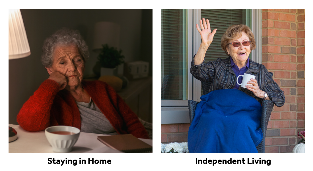 Someone aging in their current home vs. someone in an independent living community.